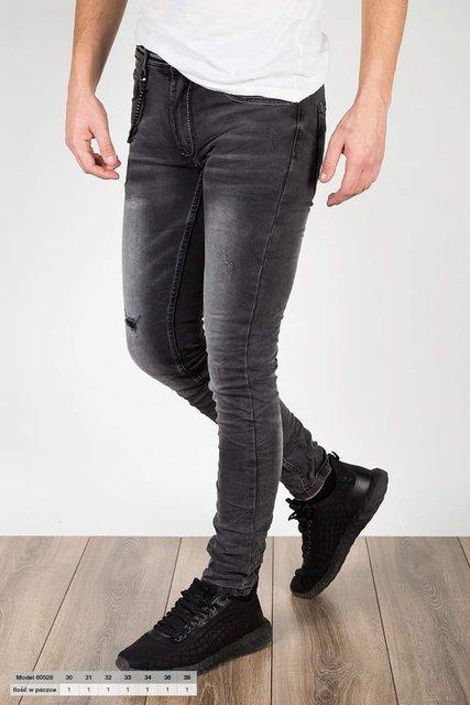 Męskie spodnie jeansowe 60028, przecierane.