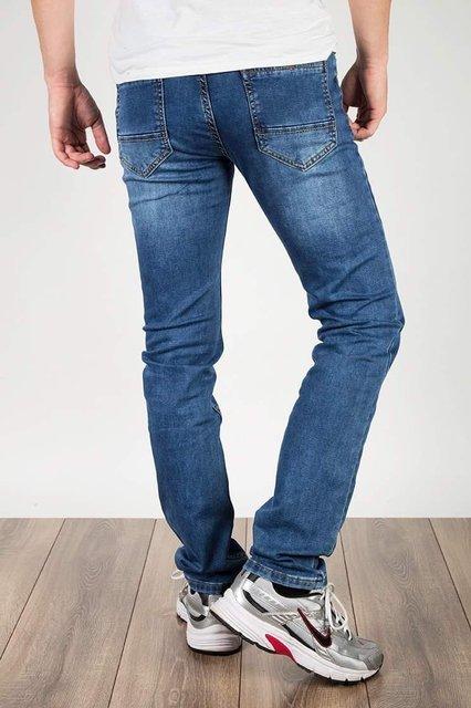 Męskie spodnie jeansowe 6006, klasyczne, niebieskie, regular fit.