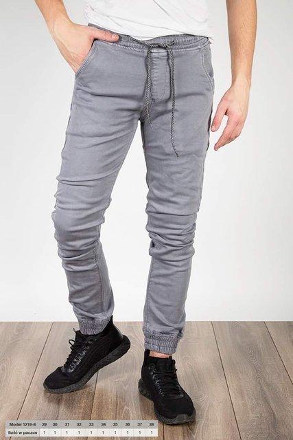 Męskie spodnie joggery, klasyczne 1219-8. szare
