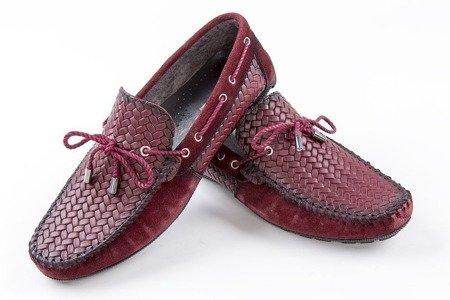Mokasyny / buty skórzane plecione - bordowe