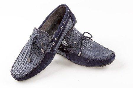 Mokasyny / buty skórzane plecione - granatowe