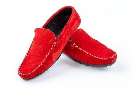 Mokasyny męskie zamszowe - czerwone